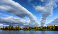 Big sky lake: National Library and poplars